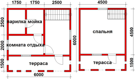 Планировка бани дома двухэтажной