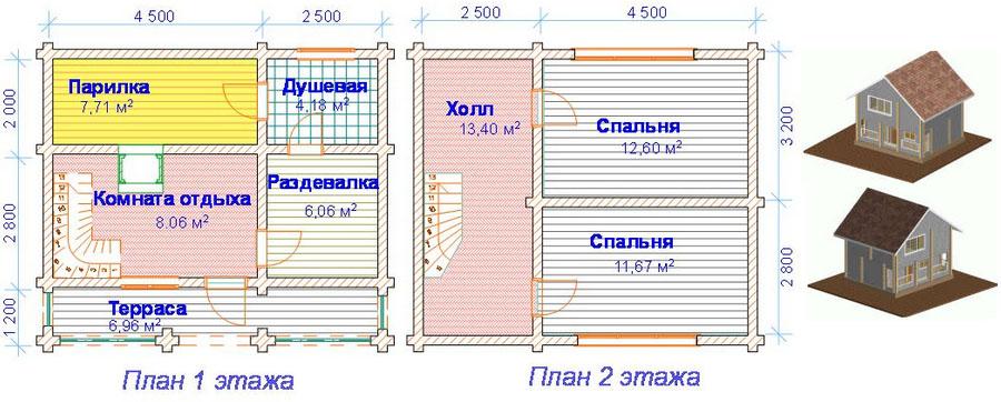 Проект бани 6х7 из бревна в два этажа