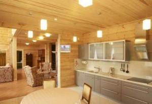 Блок хаус в интерьере кухни