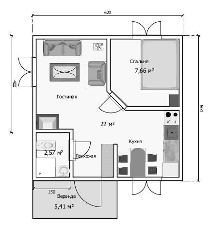 Проект дачного домика из бруса 6х6