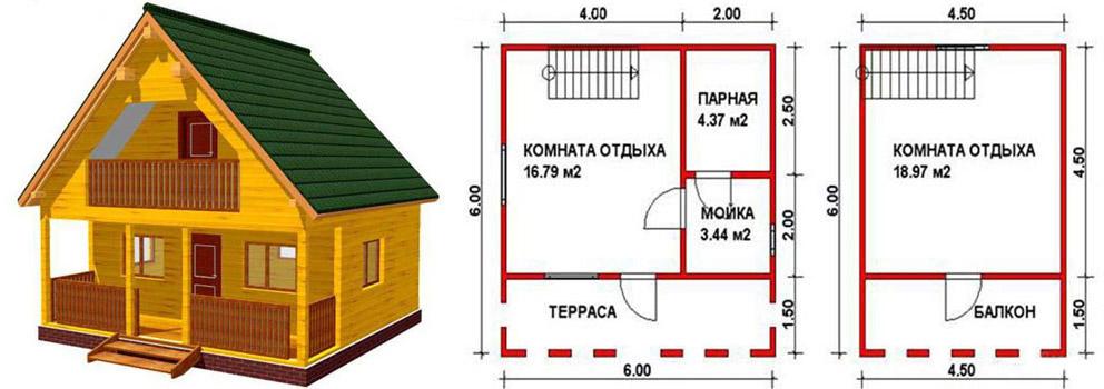 План бани в 2 этажа 6 на 6 метров