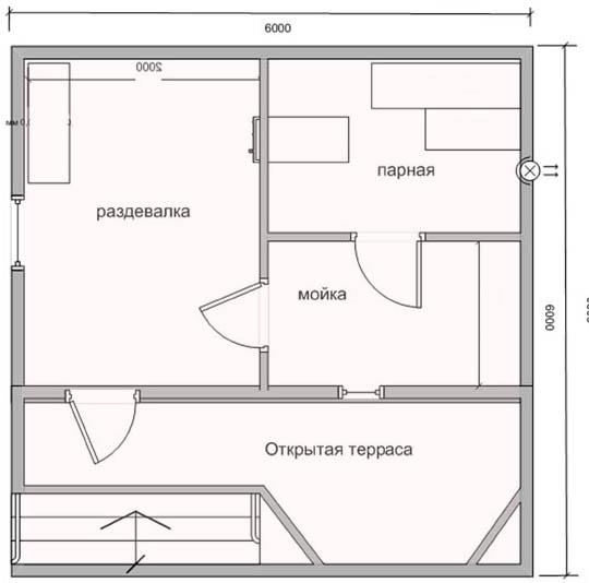 План бани 6х6 с террасой