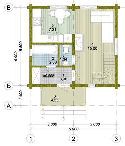 План деревянного дома 6х6