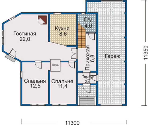 План дома 11х11 с гаражом