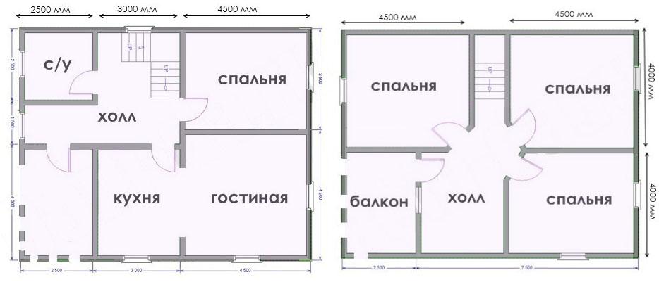 План каркасного дома 8х10