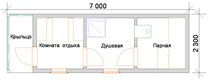 Схема бани с тремя помещениями