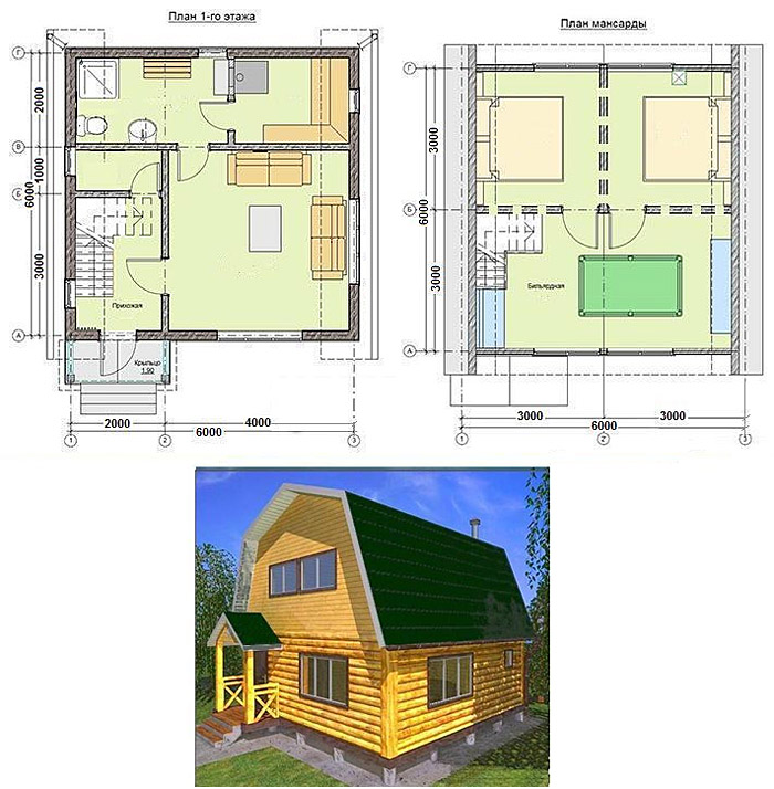 Схема дома с мансардой