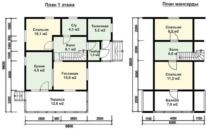 Схема дома 8х9 м