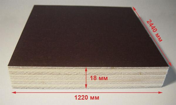 Фанерный лист толщиной 18 мм