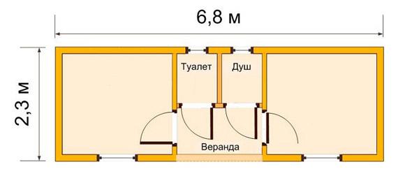 Двухкомнатная постройка 2,3х6,8